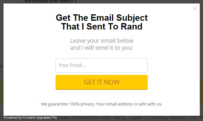 email popup
