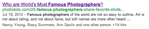 famous photographers search snippet