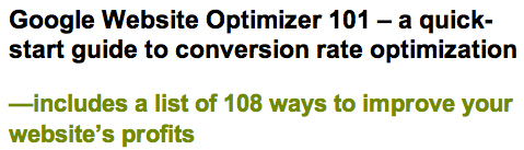 Google Website Optimizer 101 – a quick-start guide to conversion rate optimization