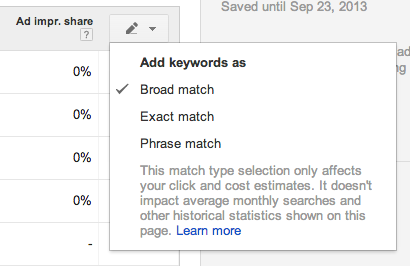 match types in keyword planner tool