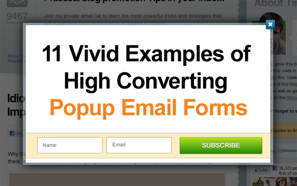 11 vivid examples of high converting popup email forms bloggerjetEmail Pop Up Examples #12